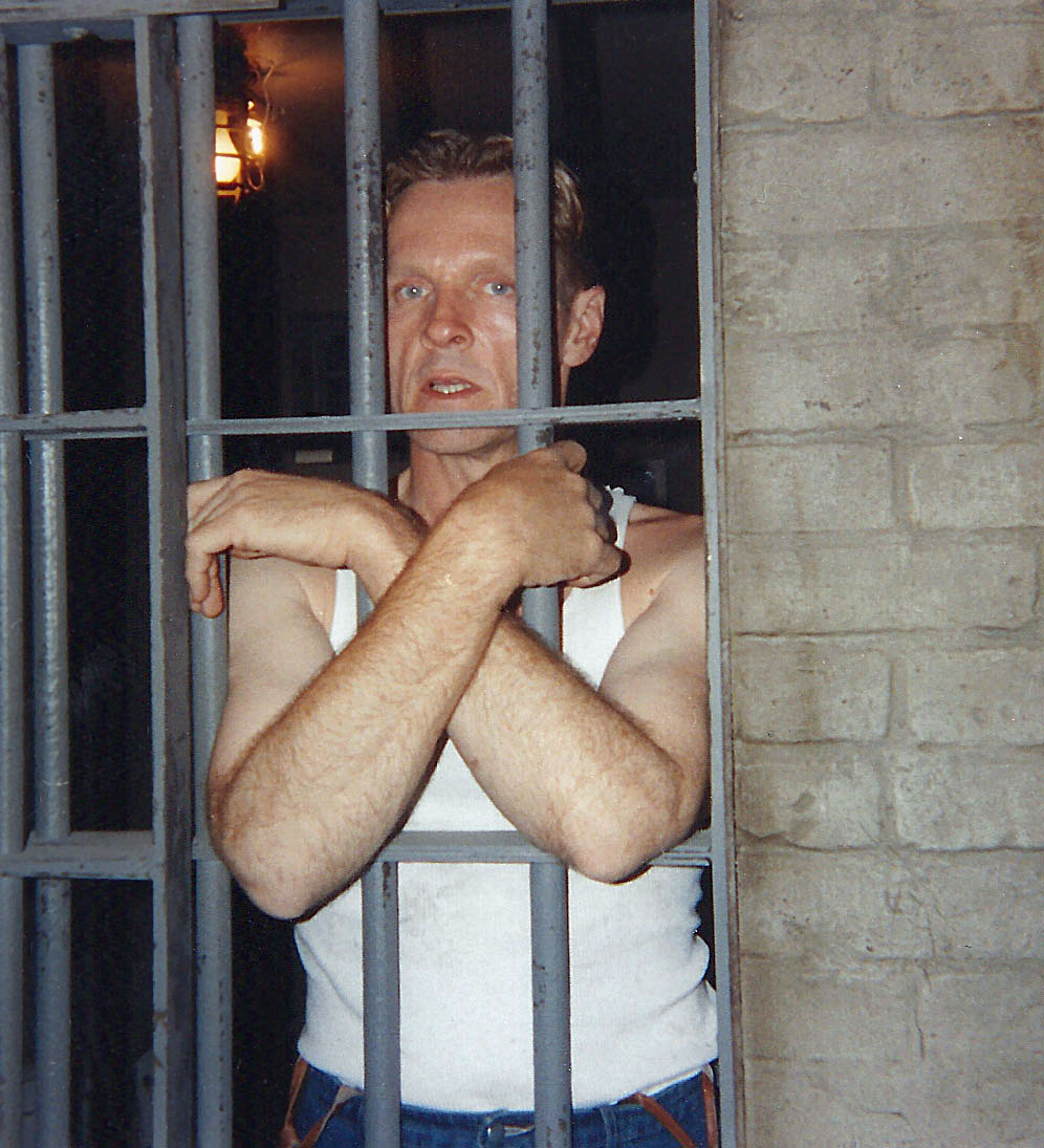 Actor Bill Sadler (Haywood) takes a break between takes during the filming of <i>The Shawshank Redemption.</i>