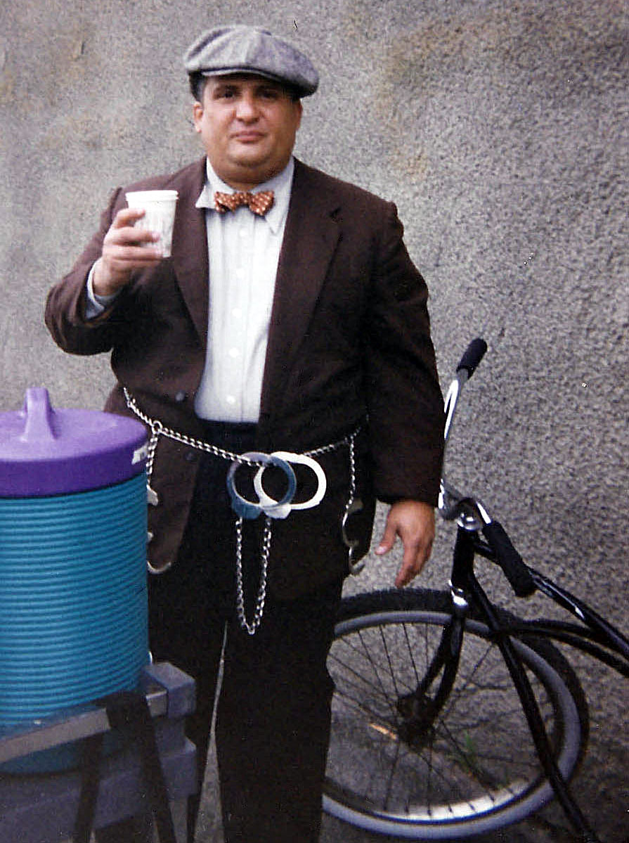 Actor Frank Medrano (Fat Ass) enjoying a refreshment between takes.