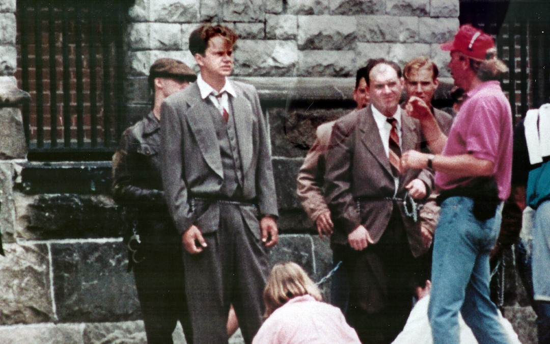 Actor Tim Robbins and Jodiviah Stepp taking direction during the filming of <i>The Shawshank Redemption.</i>